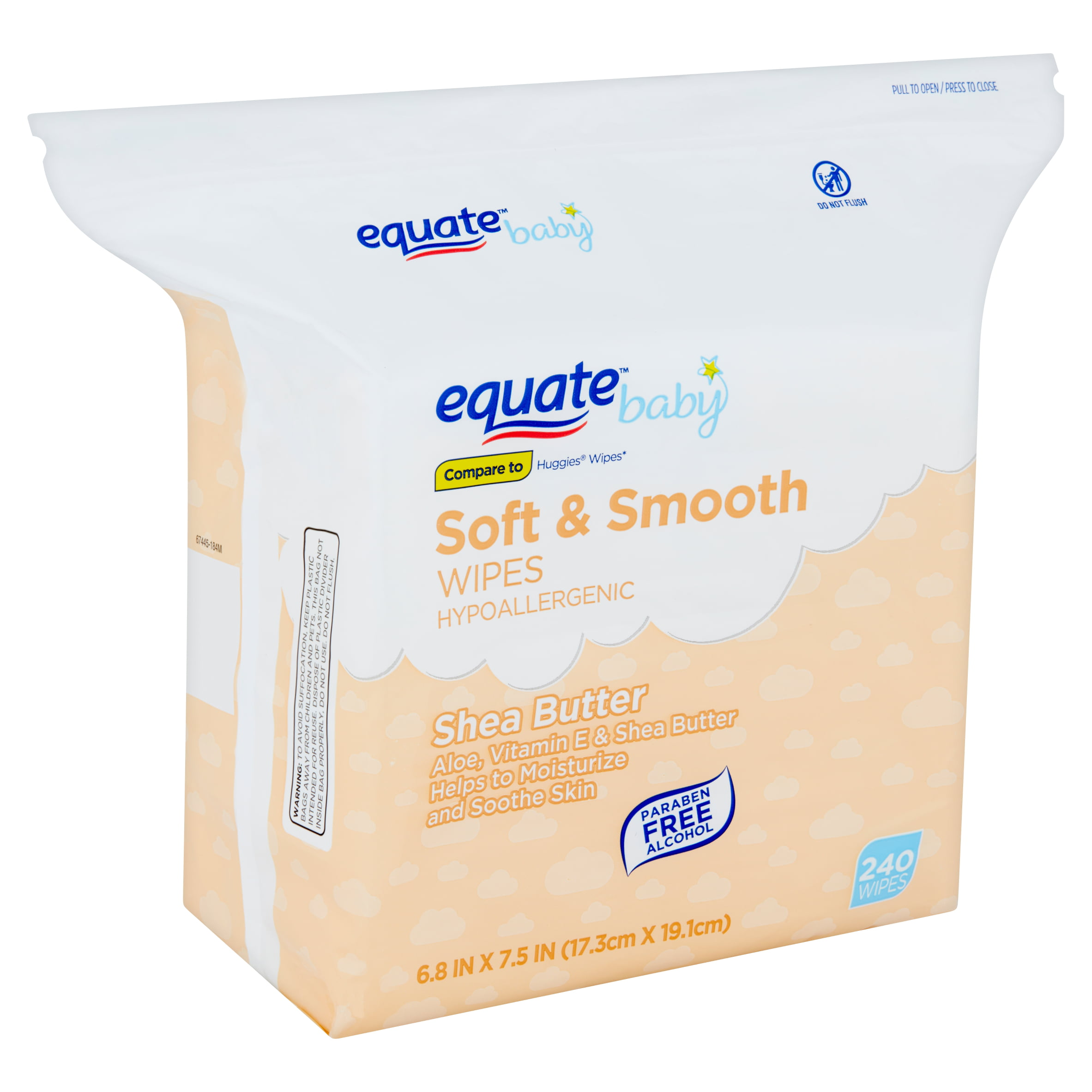 Equate Baby Soft & Smooth Shea Butter Wipes, 240 count