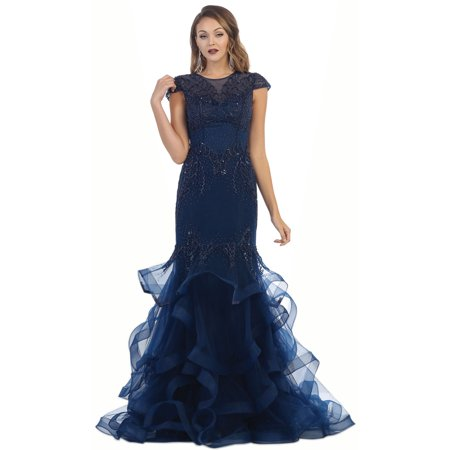 CAP SLEEVE DEMURE EVENING GOWN - Royal Blue Cap And Gown