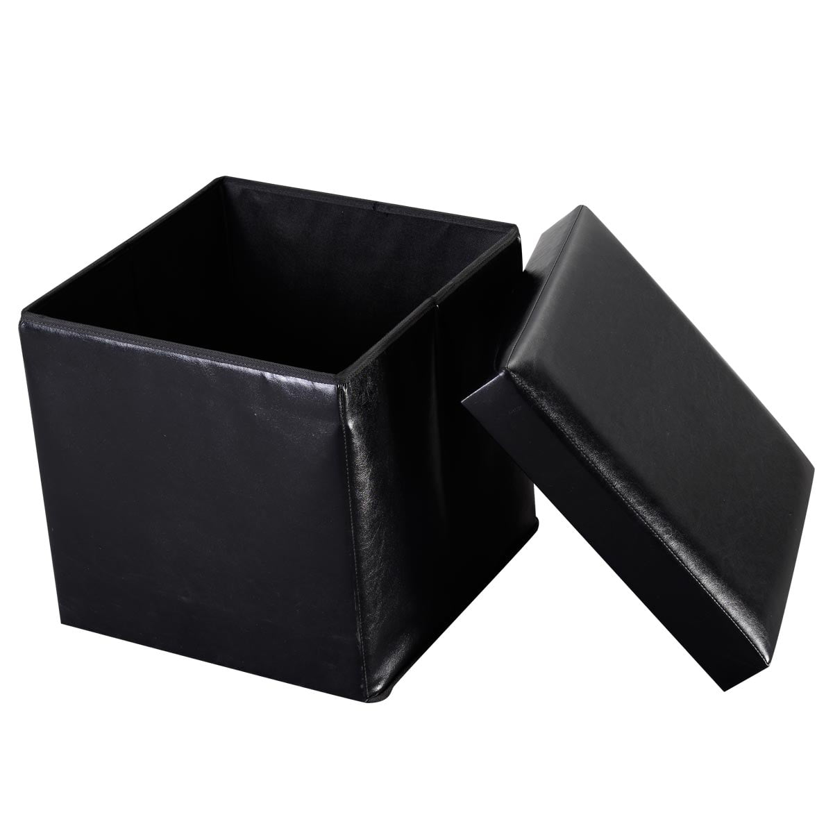 Costway Folding Faux Leather Ottoman Pouffe Storage Box Lounge Seat Footstools (Black) by Costway