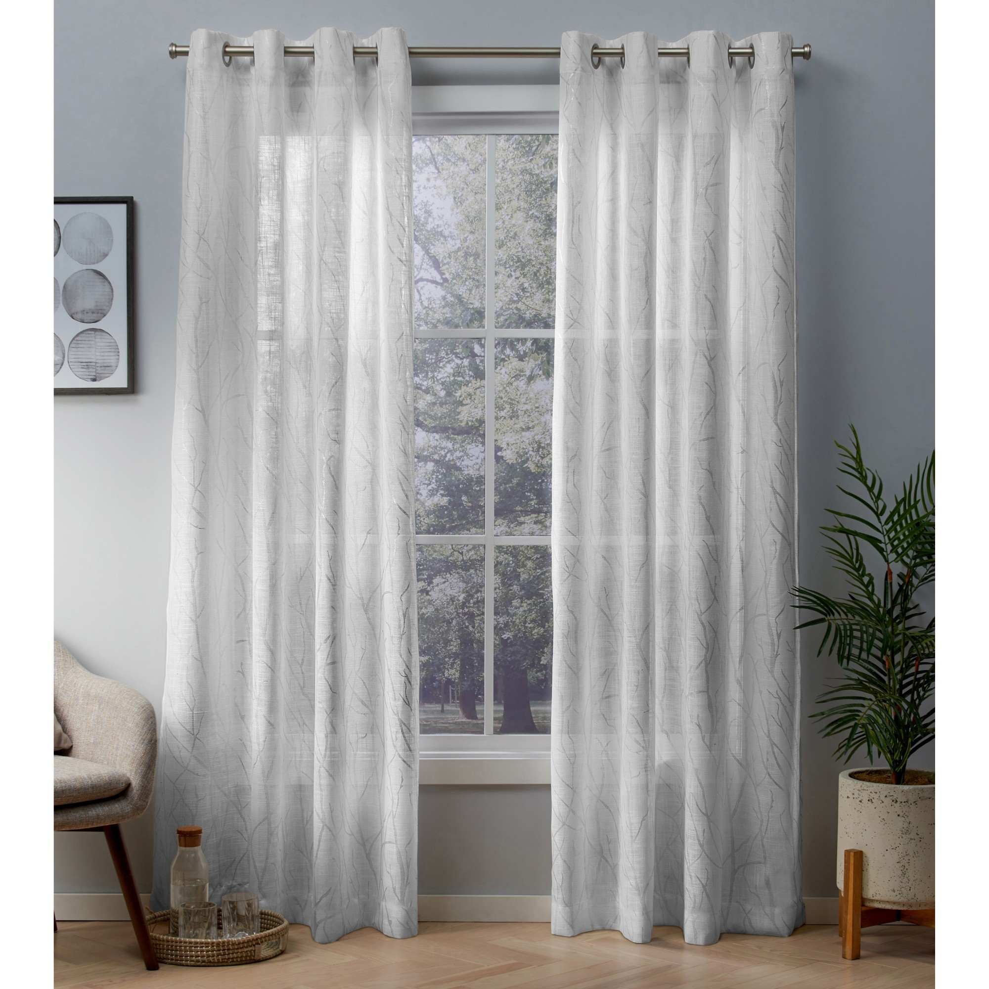 Exclusive Home Woodland Printed Metallic Branch Sheer Textured Linen Window Curtain Panel Pair with Grommet Top