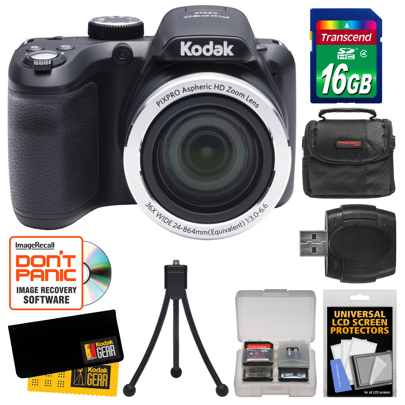 Kodak PixPro AZ365 Astro Zoom Digital Camera with 16GB Card + Case + Flex Tripod + Kit