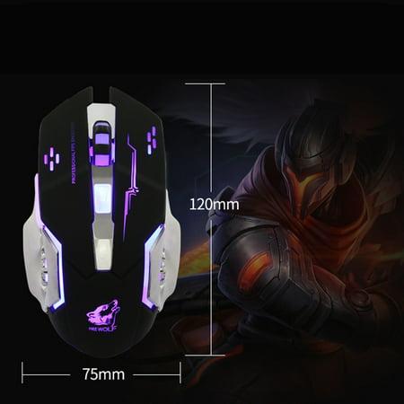 Moose Metal (Wired LED Light 4000DPI Optical Usb Ergonomic Pro Gamer Gaming Mouse Metal Plate)