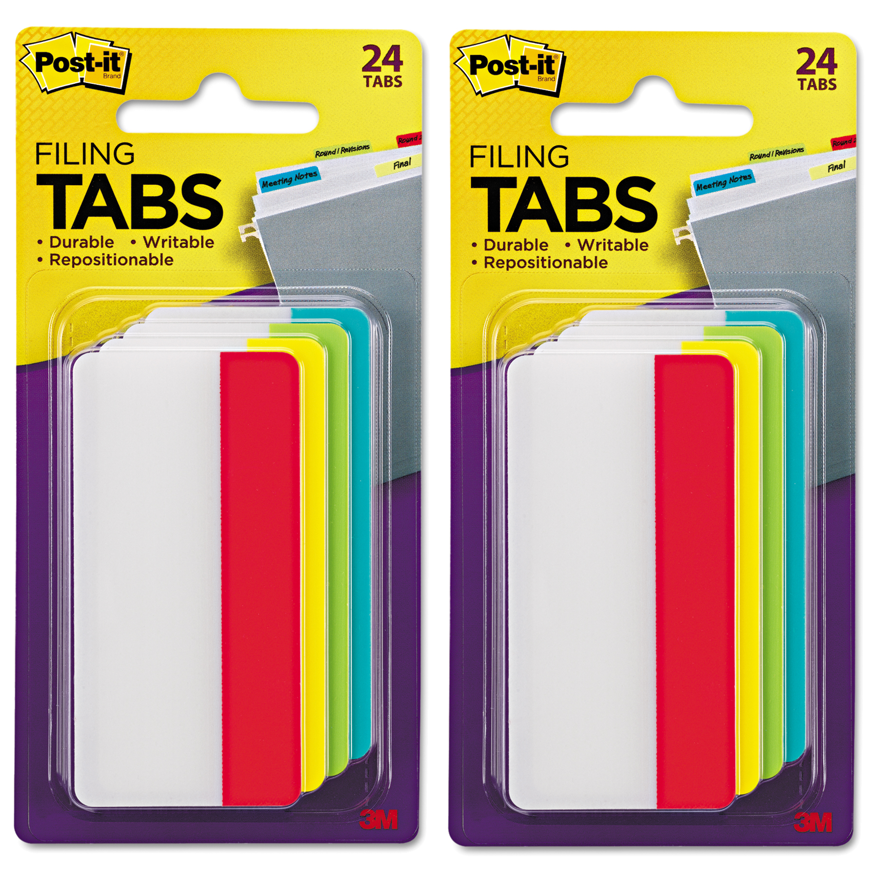 (2 Pack) Post-it Tabs, 3 in., Solid, Assorted Primary Colors, 6 Tabs/Color, 4 Colors, 24 Tabs/Pack