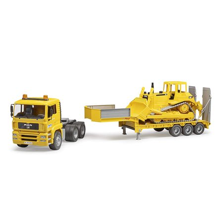 Miniature Toy Cars (Bruder Toys Plastic Realistic Miniature Toy MAN TGA Loader Truck w/CAT)