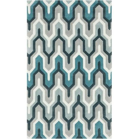 2' x 3' Egyptian Tefnut Teal Blue and Gray Hand Tufted Area Throw Rug ()