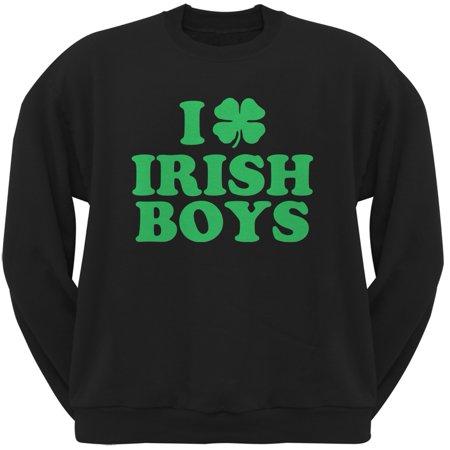 Black Ireland Sweatshirt (I Shamrock Love Irish Boys Black Adult Crew Neck Sweatshirt)