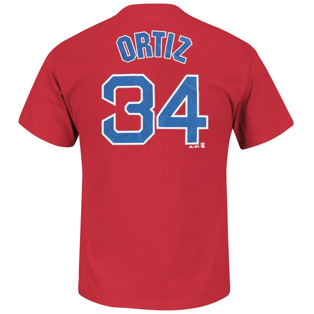 David Ortiz Boston Red Sox MLB Majestic Men's Red Name & Number Player Jersey T-Shirt