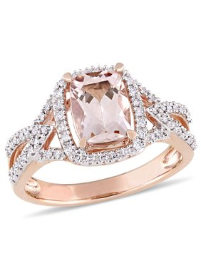 1-1/3 Carat T.G.W. Morganite and 1/6 Carat T.W. Diamond 10kt Rose Gold Halo Cocktail Ring