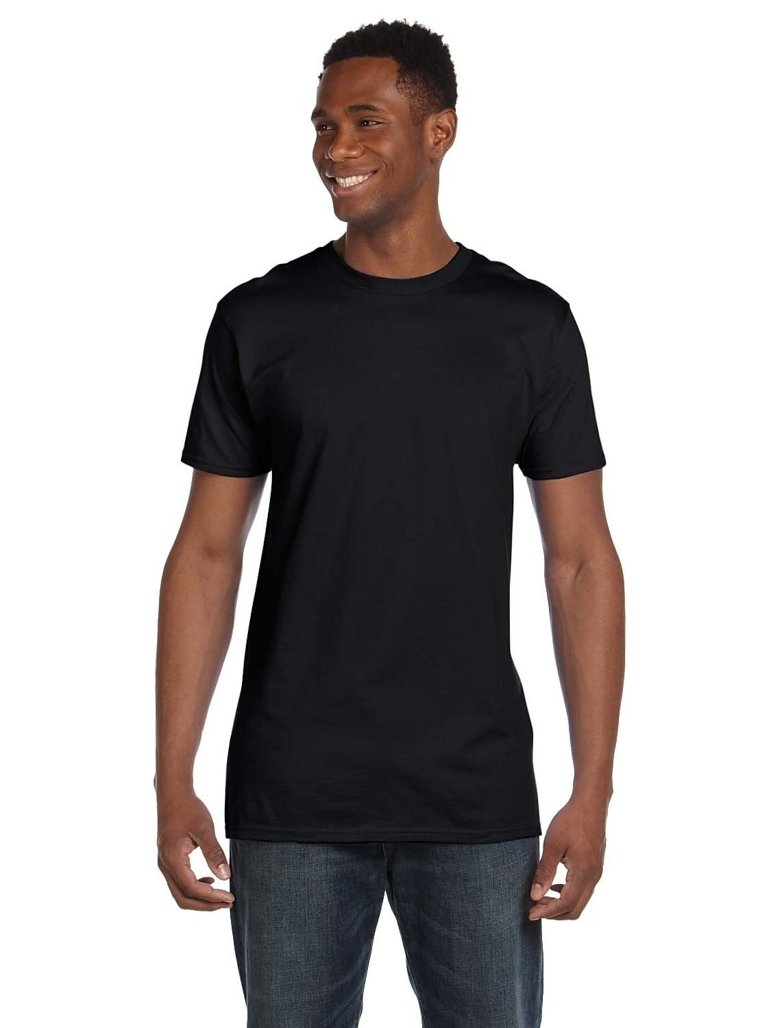 Hanes  Men's Black Ringspun Cotton Nano-T Undershirts (Pack of 9)