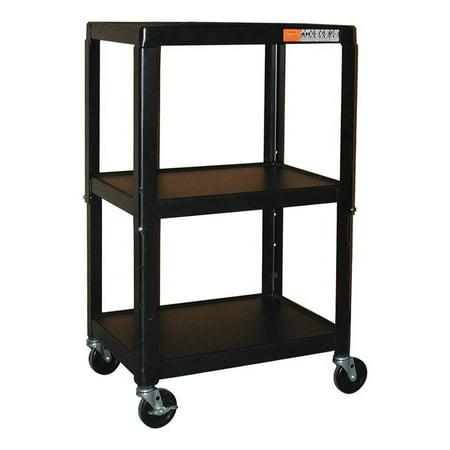 Adjustable Multi-Function Carts in Black Powder Coated Finish (26 in. - 42 in.) 42' Adjustable Height Av Cart