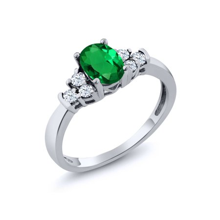 0.64 Ct Oval Green Nano Emerald White Topaz 925 Sterling Silver Ring