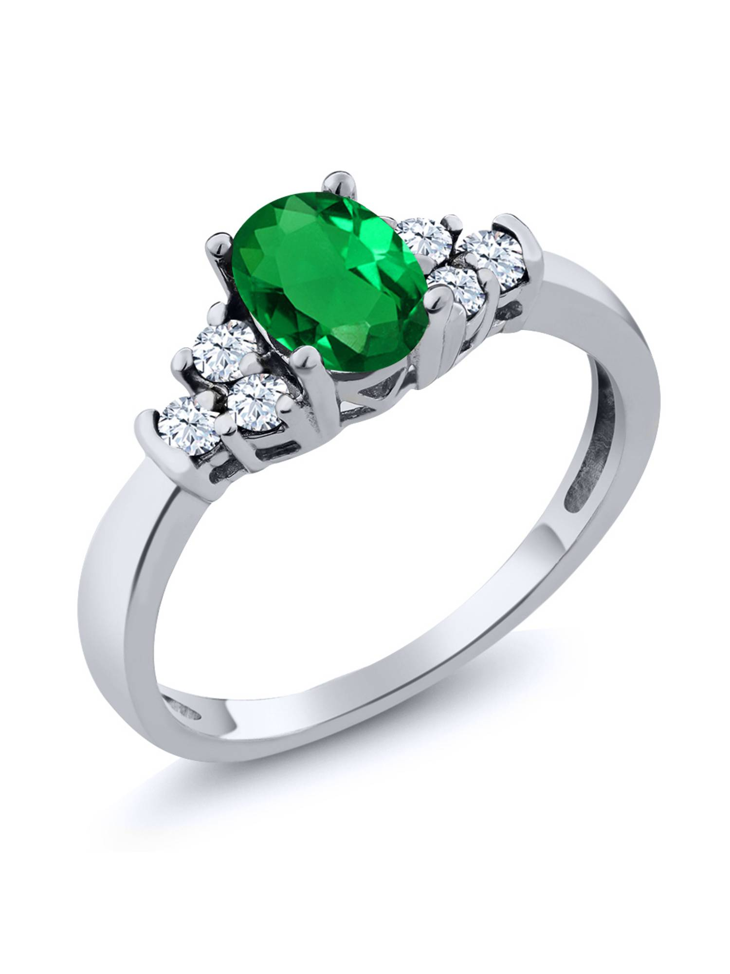 0.64 Ct Oval Green Nano Emerald White Topaz 925 Sterling Silver Ring