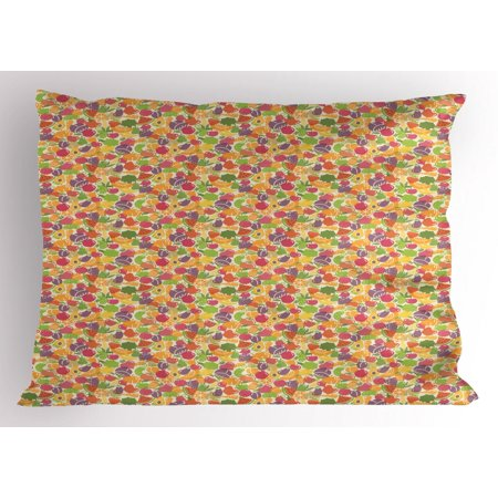 Fruits Pillow Sham, Colorful Arrangement of Summer Season Healthy Sweets Cartoon Style Fruits Pattern, Decorative Standard King Size Printed Pillowcase, 36 X 20 Inches, Multicolor, by