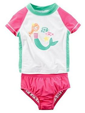 Carter's Baby Girls' 2-Piece Mermaid Rushguard Set 12M Pink/White