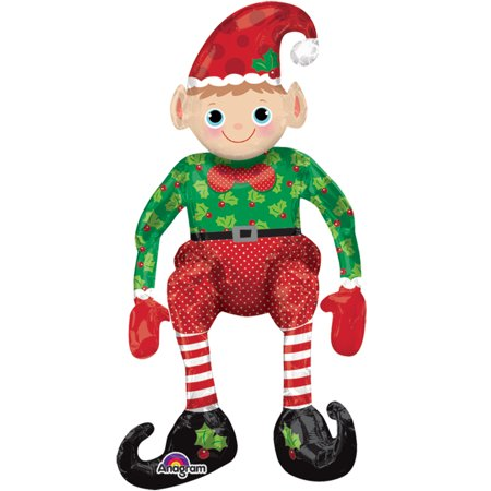Anagram Christmas Holiday Sitting Elf Multi-Style Giant Foil Balloon, Red Green](Anagram Balloons)