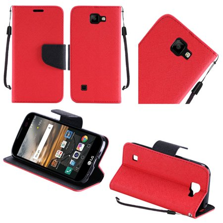 For Lg K3 Flip Wallet Credit Card   Red