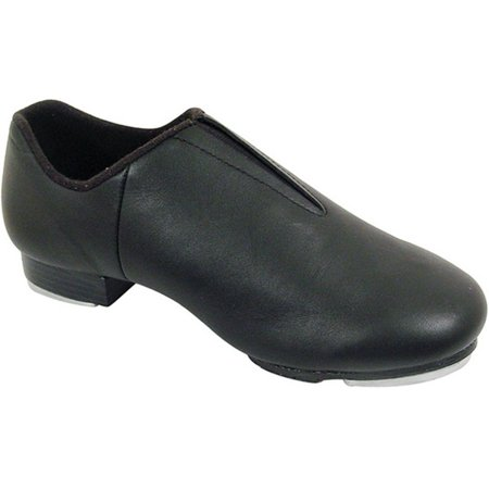 Black Leather Laceless Split Sole Rhythm Tones Taps Jazz Shoes 5-10 Womens