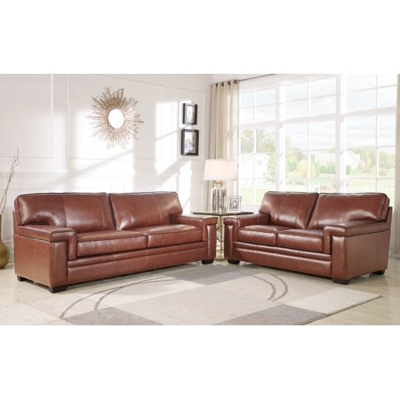 Devon & Claire Remmy Brown Top Grain Leather Sofa and Loveseat