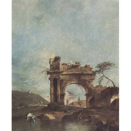 Framed Art for Your Wall Guardi, Francesco - Capriccio with crumbled archway and a small temple in the background 10 x 13 Frame