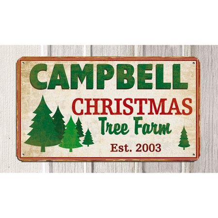 (Personalized Christmas Tree Farm Metal Sign, 8
