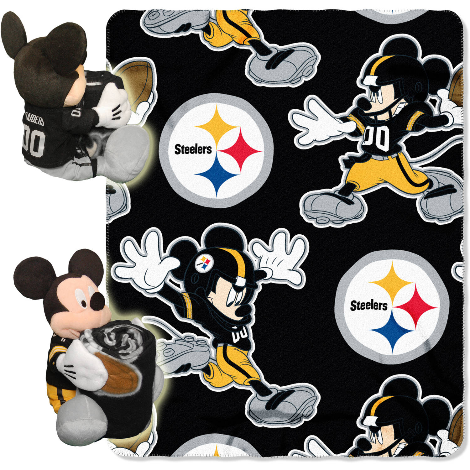 "Disney NFL Pittsburgh Steelers Hugger Pillow and 40"" x 50"" Throw Set"