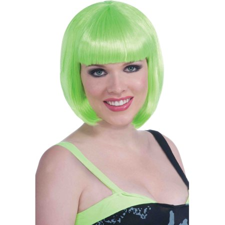 Adult Green 90s Vibe Girl Costume Long Bob Wig