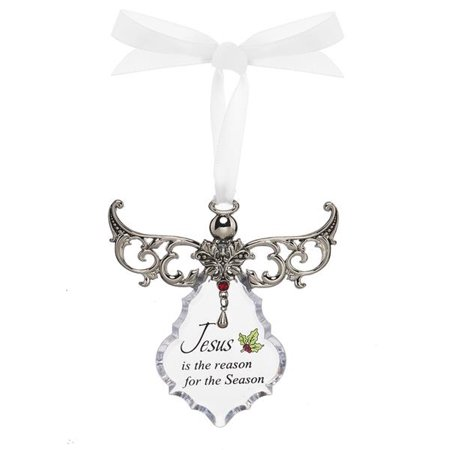 Jesus is the Reason For the Season Clear Angel Gown Christmas Tree Ornament - By Ganz