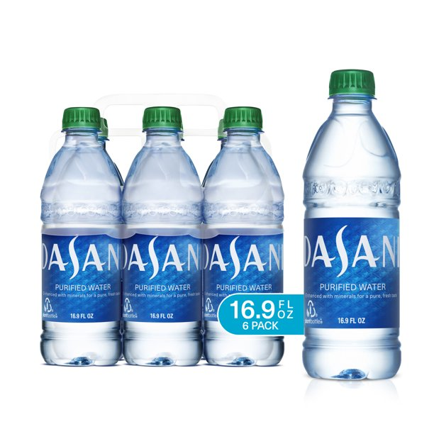 DASANI Purified Water Bottles Enhanced with Minerals, 16.9 fl oz, 6 Pack