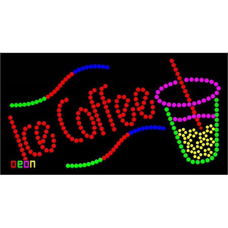 """19""""x9.5"""" Neon By Deon Ice Coffee LED Sign with Logo w/Flashing Controller"""