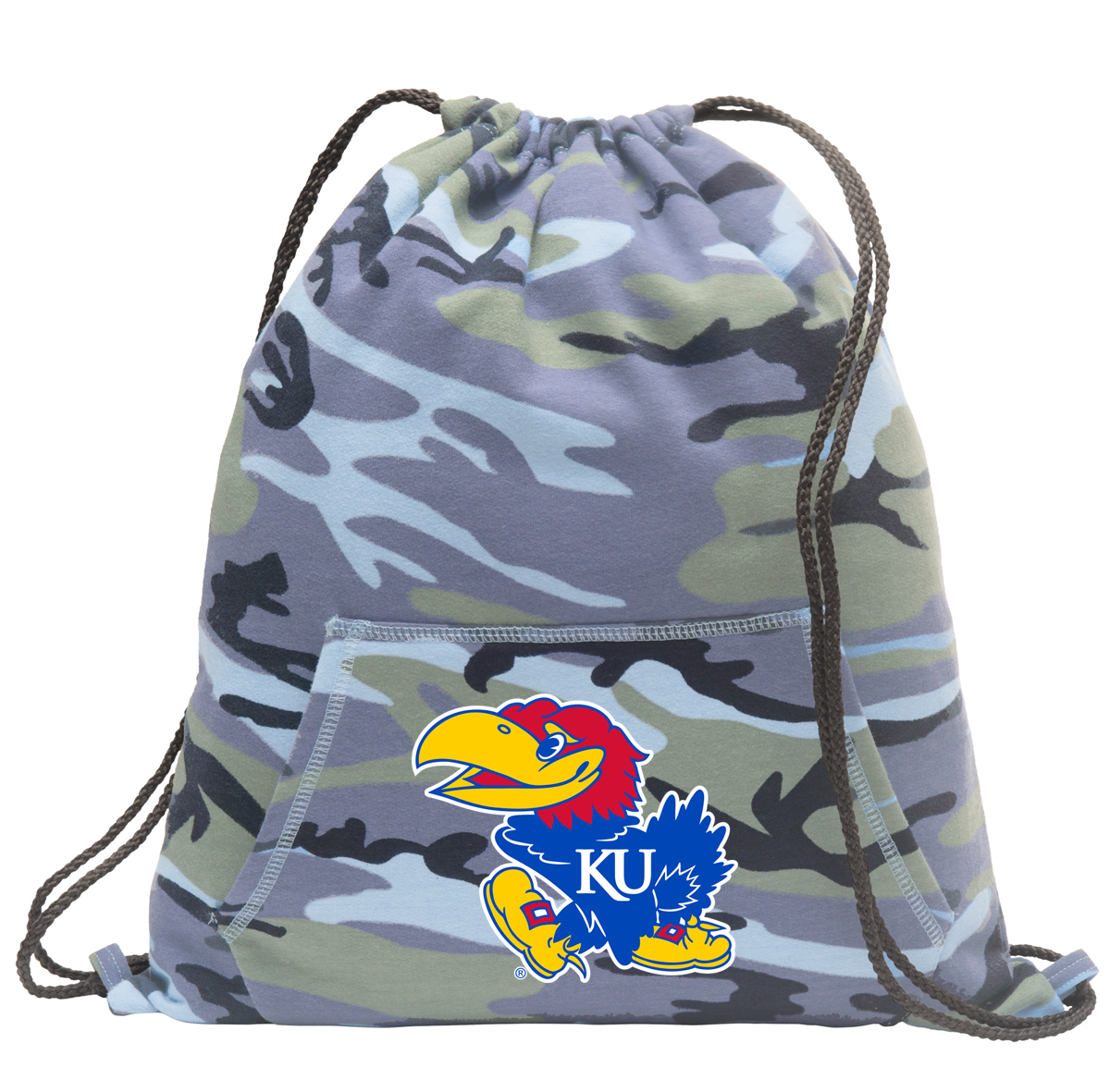 Kansas Jayhawks Drawstring Bag Blue Camo