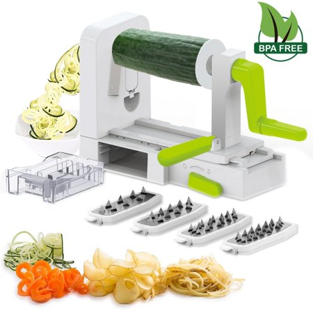 Spiral Dough (5 Blade Spiral Slicer - Spiralizer, iLove Cooking Vegetable Fruit Veggie Pasta & Spaghetti Maker, Stainless Steel Blades, Strong-Hold with Extra Blades Caddy. BPA Free)