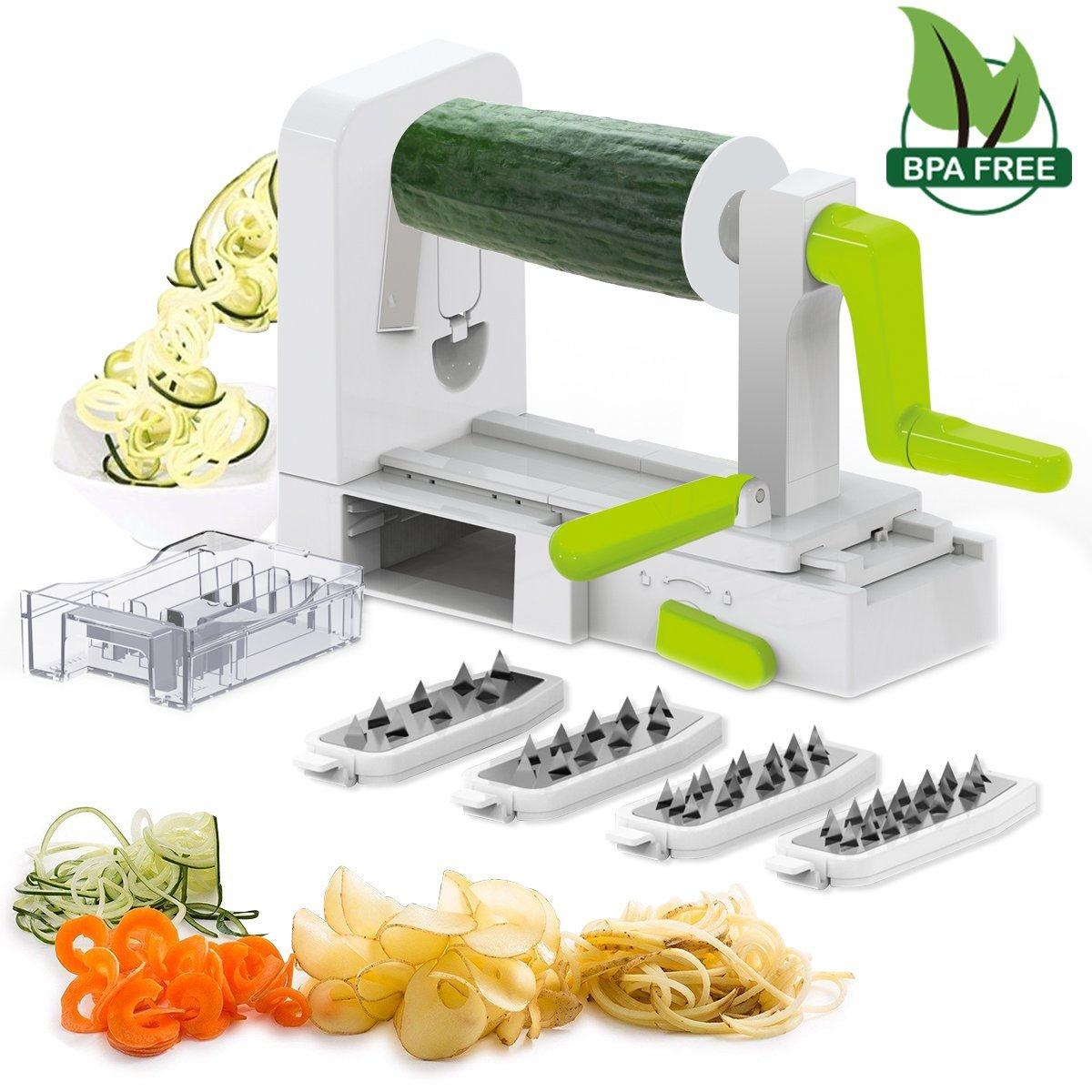 5 Blade Spiral Slicer - Spiralizer, iLove Cooking Vegetable Fruit Veggie Pasta & Spaghetti Maker, Stainless Steel Blades, Strong-Hold with Extra Blades Caddy. BPA Free
