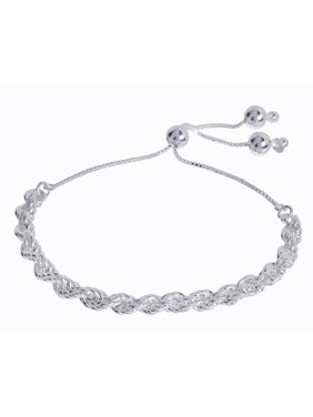 3e8b61a427b Product Image Sterling Silver Wide Rope Adjustable Bracelet 8.5