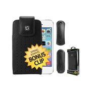 Cellet Black Teramo Case for Apple iPhone 5, 5C, 5S, 4 with Removable Clip