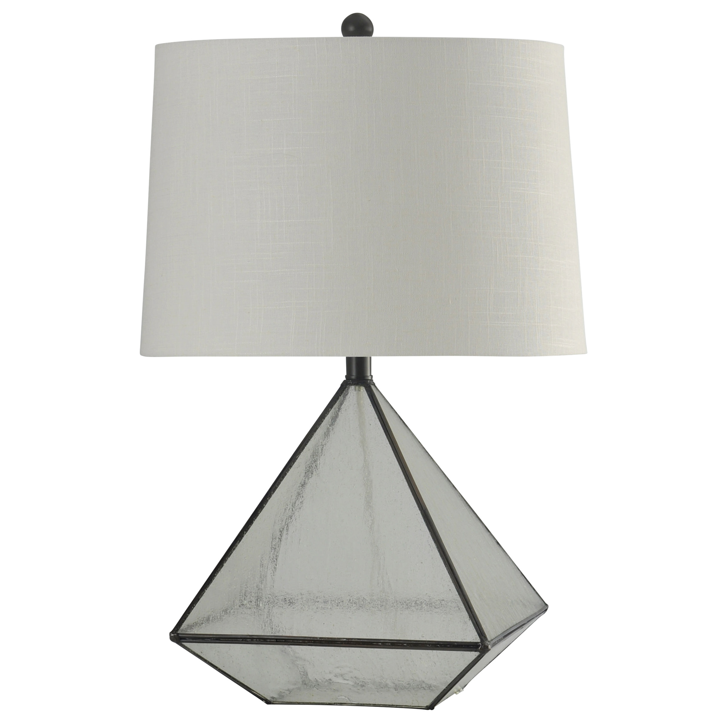 Burke Table Lamp Bronze Finish White Hardback Fabric Shade