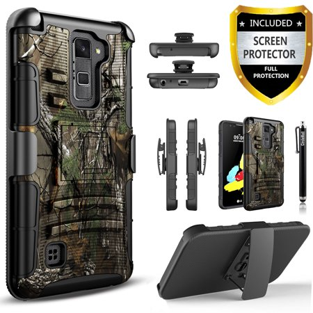 new style a0ebd 6e08a LG Stylo 2 Case, LG Stylo 2 Plus Case, LG Stylo 2 V Case, [Combo Holster]  Phone Cover Kickstand with[HD Screen Protector]And Holster Belt Clip And ...