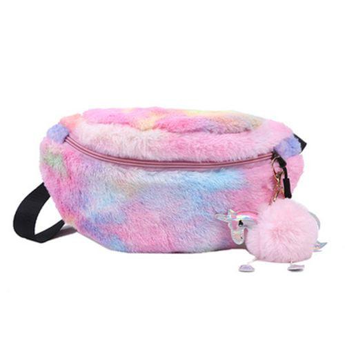 Big Eye Purple YuDanae Rainbow Unicorn Plush Fuzzy Fanny Pack Waist Bag Cute Bum Bag for Kids Girls
