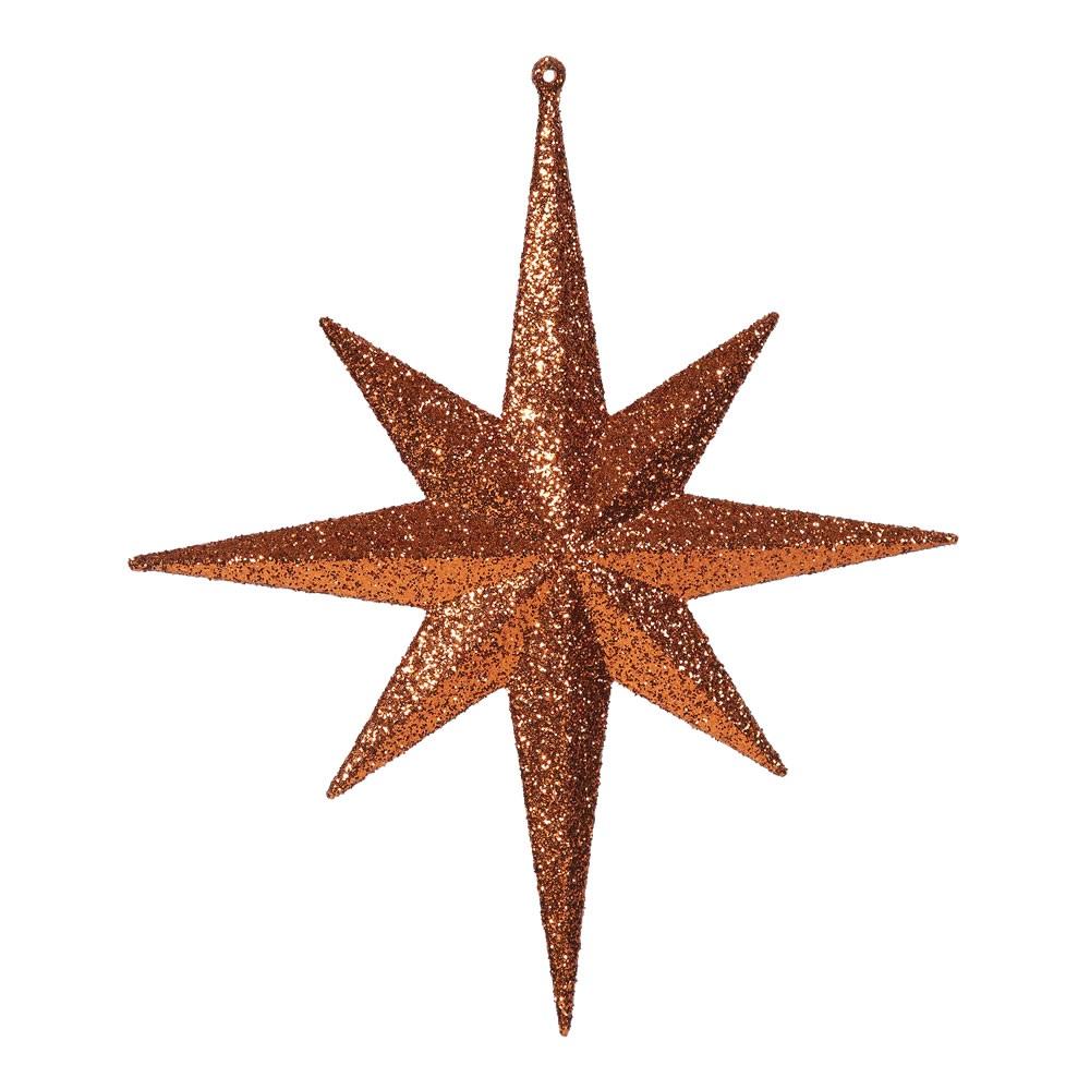 """Set of 2 Burnt Orange Glittered Star of Bethlehem Christmas Ornaments 12"""""""
