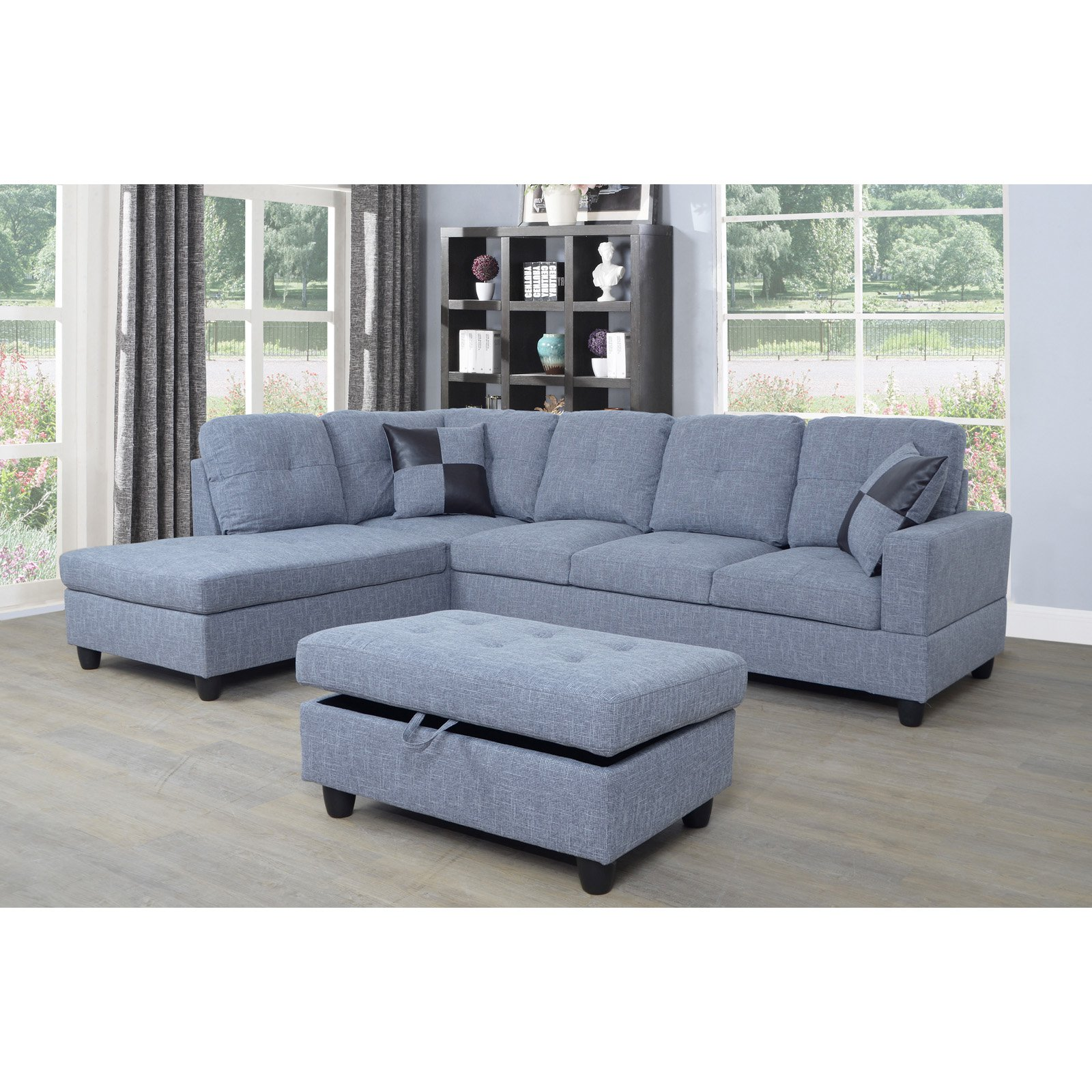 Beverly Fine Furniture 3 Piece Light Gray Microfiber Sectional Sofa