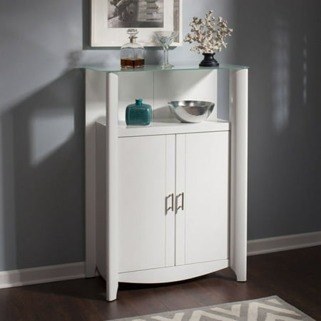 Bush Furniture Aero Library Storage Cabinet with Doors in Pure White