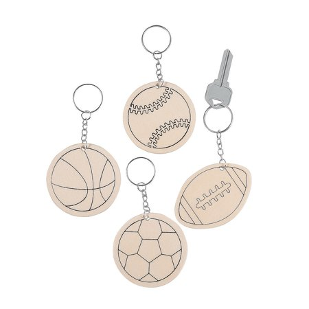 CYO WOOD SPORTS BALL KEYCHAINS - Craft Kits - 12 Pieces Clip Sport Ball Keychains