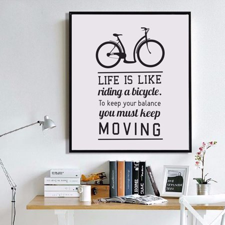 Girl12Queen Bicycle Inspirational Quote Canvas Painting Home Office ...