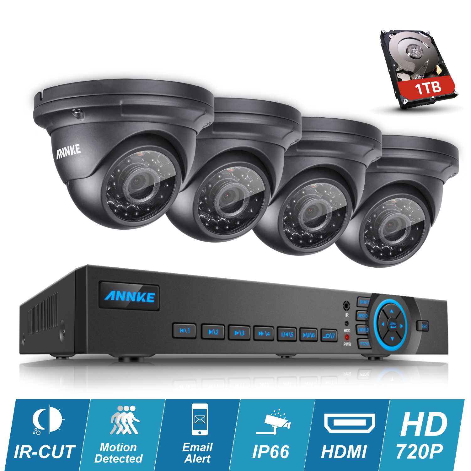 ANNKE 4CH 720P AHD CCTV DVR NVR Outdoor IR Home Security Surveillance Camera System With 1TB HDD