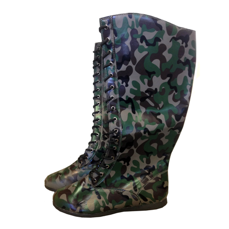 Camo Adult Pro Wrestling Boots WWF WWE Camouflage Costume Military Hero Boxing](Wrestling Halloween)