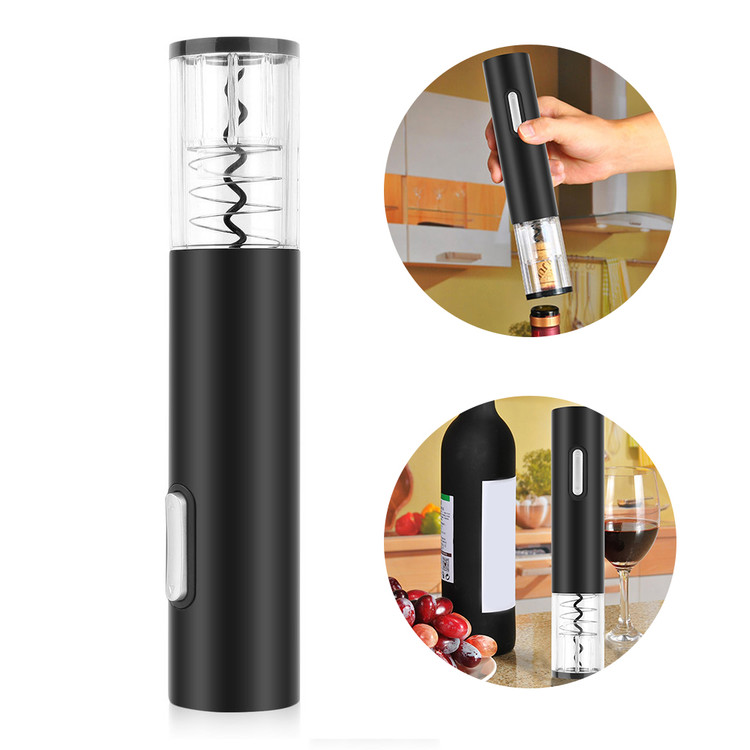 Electric Cordless Corkscrew Wine Bottle Opener With Foil Cutter Vacuum Stopper