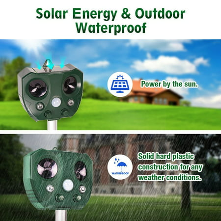 Solar Ultrasonic Animal Repeller, KCASA Solar Battery Powered Ultrasonic Animal Pest Repeller Bird Dog Insect Control Rodent Repellent with Motion Sensor for Garden Patio - image 3 of 10