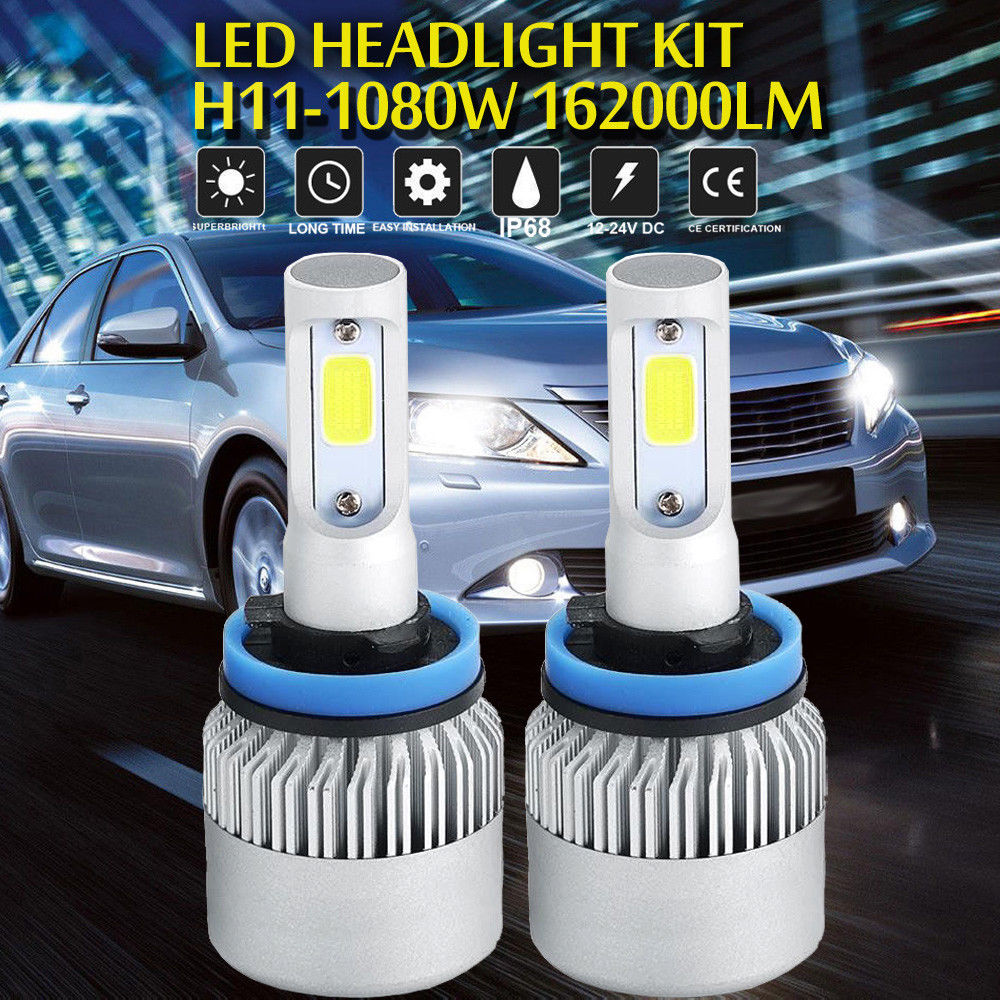 H11 1080W LED Headlight Bulbs Conversion Low Beam 6000K White Driving High Power