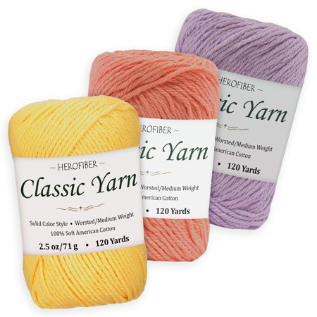 Crochet Lavender - Cotton Yarn - 3 Solid Colors [2.5 oz Each] | Yellow Maize + Salmon + Lavender | Worsted/Medium Weight - Assortment for Knitting, Crochet, Needlework, Decor, Arts & Crafts Projects