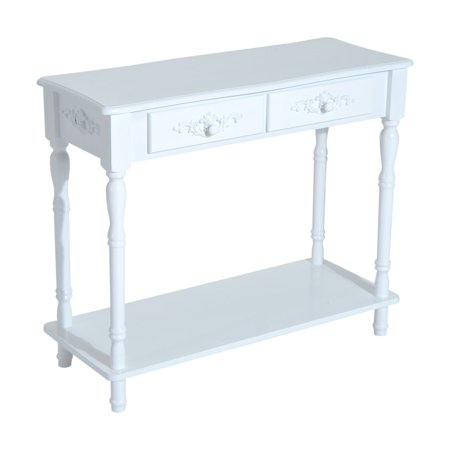 (HomCom Wood 2-Drawer Traditional Entryway Console Table - White)