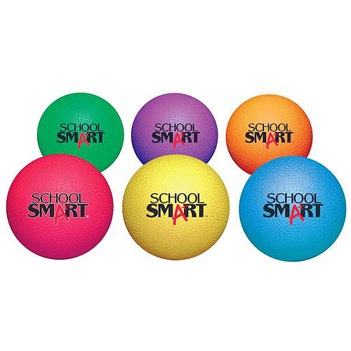 "School Smart Natural Rubber Playground Balls, 8.5"", Set of 6"